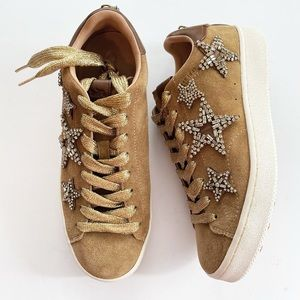 Coach Star Embellished Lace Up Sneakers suede tan